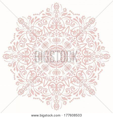 Elegant pink round ornament in the style of barogue. Abstract traditional pattern with oriental elements