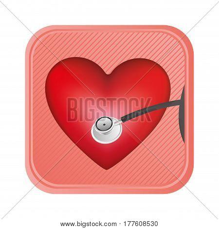 red heart doorbell icon, vector illustration design