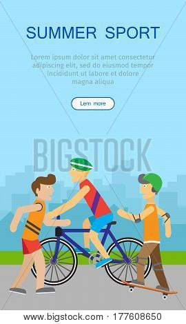 Summer sport. Children going in for sport web banner. Teenagers on playground of urban city. Skyscrapers silhouettes on the background. Boy skateboarding, guy on bike and runner. Active way of life concept. Vector