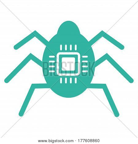Hardware Bug vector icon. Flat cyan symbol. Pictogram is isolated on a white background. Designed for web and software interfaces.