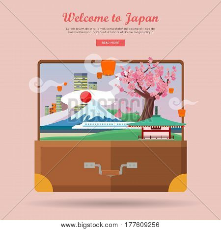 Welcome to Japan. Japan tourism poster design with attractions. Open suitcase with japanese landmarks. Japan landmark. Japan travel poster design in flat. Travel composition with famous landmarks.