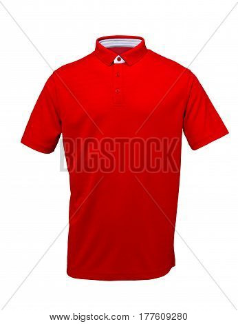 Red golf tee shirt with with white collar on white background