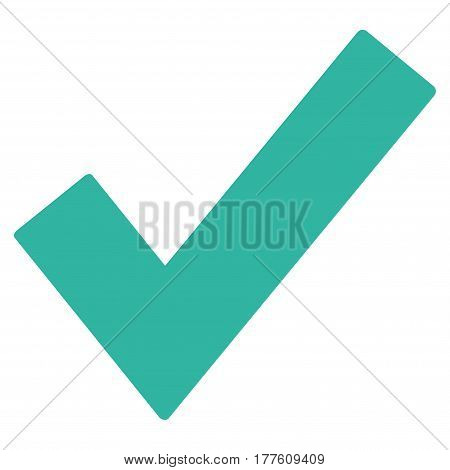 Ok Tick vector icon. Flat cyan symbol. Pictogram is isolated on a white background. Designed for web and software interfaces.