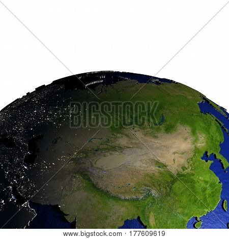 Central Asia On Model Of Earth With Embossed Land