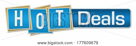 Hot deals text written over blue background.