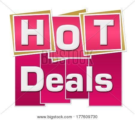 Hot deals text written over pink background.