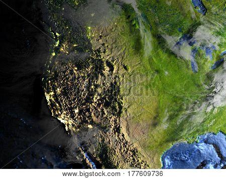 Usa On Earth - Visible Ocean Floor