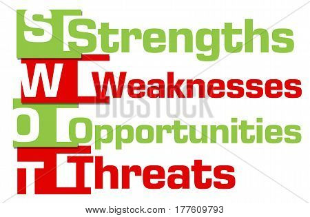 SWOT concept image with text written over red green background.