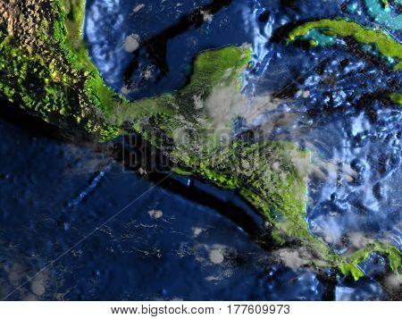 Central America On Earth - Visible Ocean Floor