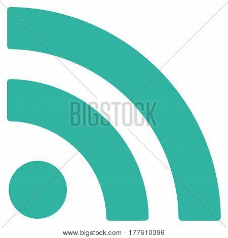 Rss vector icon. Flat cyan symbol. Pictogram is isolated on a white background. Designed for web and software interfaces.