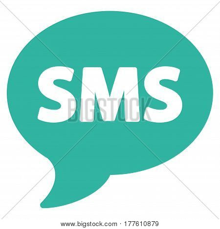 SMS vector icon. Flat cyan symbol. Pictogram is isolated on a white background. Designed for web and software interfaces.