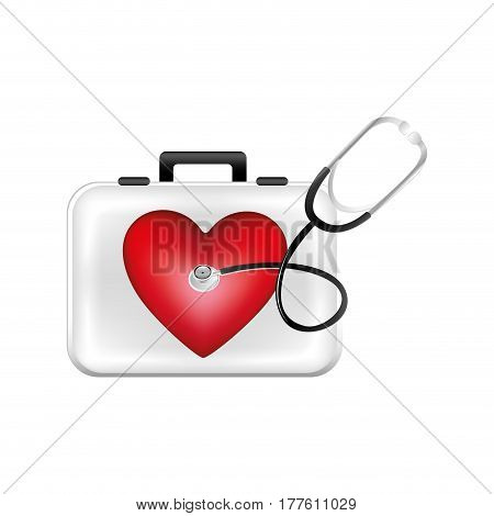 first aid kit with heart and stethoscope, vector illustration design