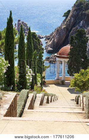 Botanical garden of Marimurtr.Type of a garden with an arbor in the Mediterranean style.