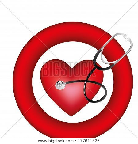 symbol heart with stethoscope icon, vector illustration design