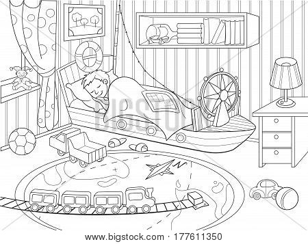 kids coloring on the theme of childhood room coloring illustration. Zentangle style. Black-and-white line room, sleeping girl, lots of toys