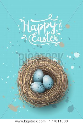 Easter greeting card, nest with spotted blue eggs on blue background, vector illustration, eps 10 with transparency and gradien meshes