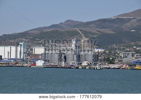 Portside Plant For Storage, Drying And Handling Of Grain. Port Freight Infrastructure. Cargo Port Wi