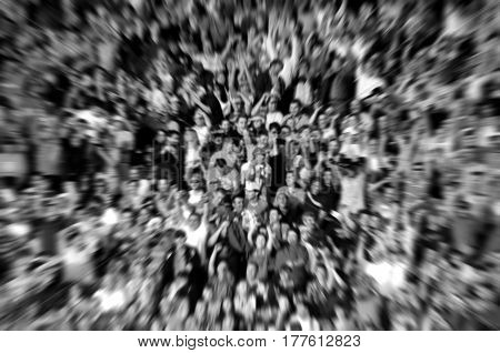 Blurred Background Of Crowd Of People In A Stadium