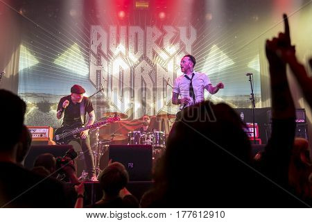 Amsterdam The Netherlands - March 19 2017: Support act with Norwegian hard rock band Audrey Horne before the concert of Canadian hard rock heavy metal band Danko Jones at Melkweg