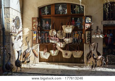 BESALU/ SPAIN - MARCH 28, 2015. Storefront with handmade goods. The Town Of Besalu, Spain