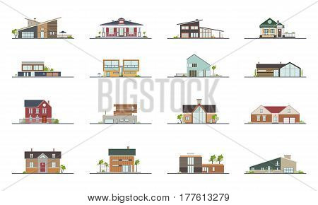 Set of different styles residential houses. Colorful flat vector illustration, Collection building villa, cottage, mansion.