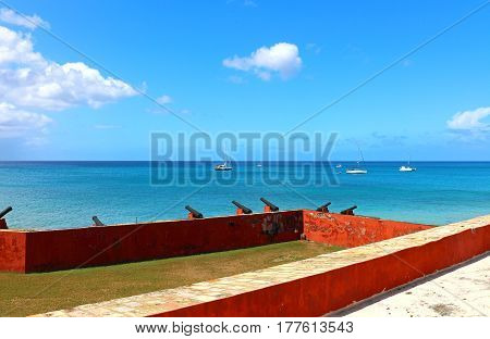 Cannons at Fort Frederik in Frederiksted, on St. Croix, in the USVI