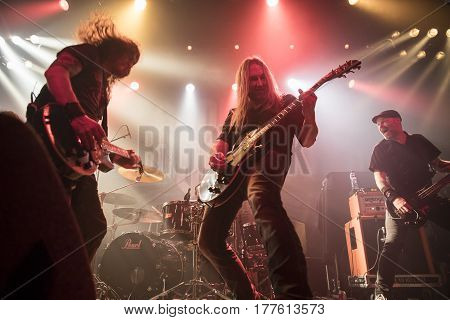 Amsterdam The Netherlands - March 19 2017: Support act with Norwegian hard rock band Audrey Horne before concert of Canadian hard rock heavy metal band Danko Jones at Melkweg