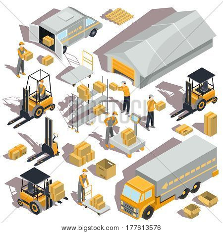 Set of vector logistic and delivery isometric icons with warehouse building, shelves, boxes, forklifts, trucks and workers are there