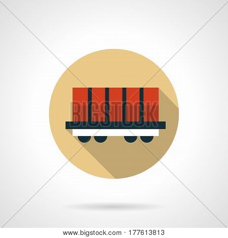 Red rail boxcar. Railroad car with container platform. Railway transportation concept. Round flat design beige vector icon, long shadow.