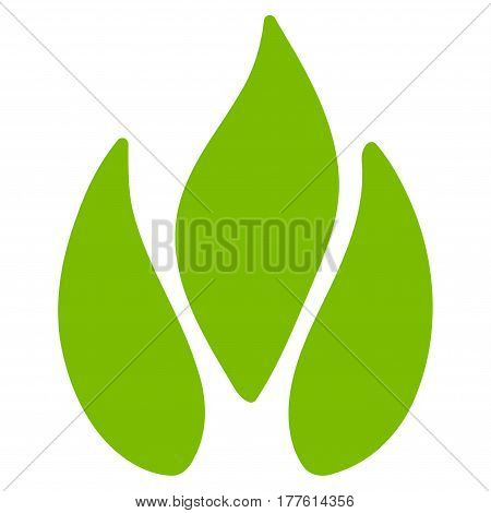 Fire vector icon. Flat eco green symbol. Pictogram is isolated on a white background. Designed for web and software interfaces.