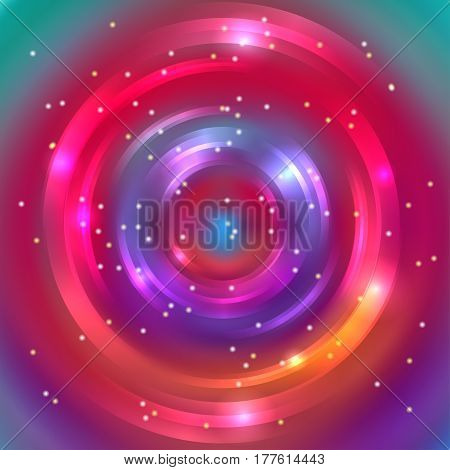 Vector round frame. Shining circle banner. Vector design. Glowing spiral. Red, orange, purple, green colors.