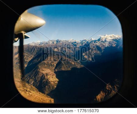 The Himalayas from a propeller plane, Nepal. Flight Kathmandu to Lukla.