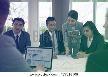 Photo Gradient Style with Business Discussion Meeting Presentation Briefing