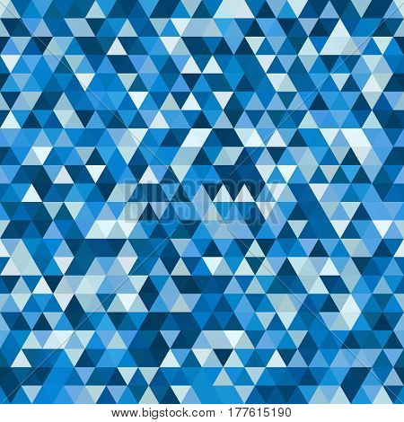Abstract seamless mosaic background. Triangle geometric background. Vector illustration. Blue, white colors.