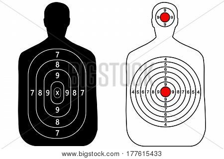 Human gun, shooting target on white background