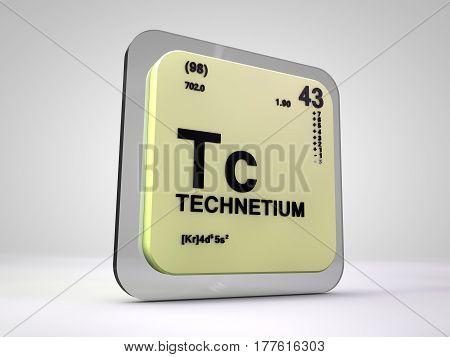 Technetium - Tc - chemical element periodic table 3d render