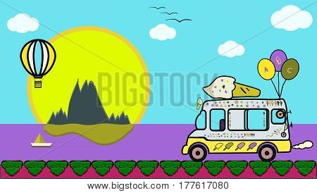 vector art with ice cream lolly van,big sun,hot air balloon,clouds,boat,island,mountains,birds,island and  ocean.