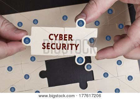 Business, Technology, Internet And Network Concept. Young Businessman Shows The Word: Cyber Security