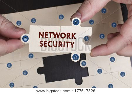 Business, Technology, Internet And Network Concept. Young Businessman Shows The Word: Network Securi