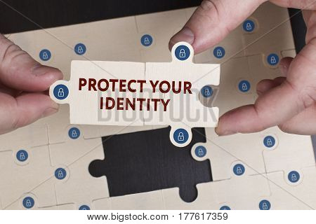 Business, Technology, Internet And Network Concept. Young Businessman Shows The Word: Protect Your I