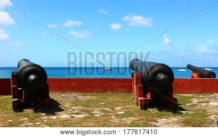 Cannons at Fort Frederik in Frederiksted, on St. Croix, USVI