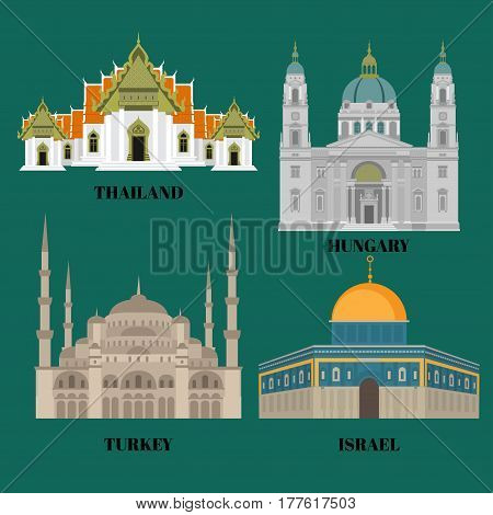 Israel, Hungary, Turkey and Thailand travel icons. Country sightseeing symbols, Eastern and European landmarks. Flat architecture.