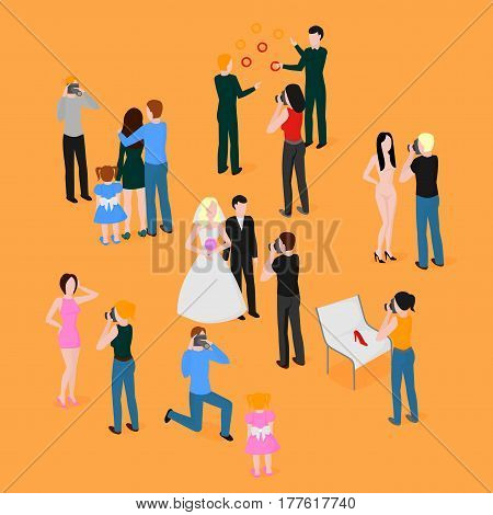 Flat isometric set of photographers. Wedding, family and kids photography. Paparazzi, journalist. Fashion, reportage and advertising photographer