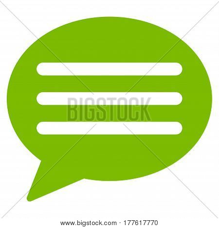 Message Cloud vector icon. Flat eco green symbol. Pictogram is isolated on a white background. Designed for web and software interfaces.