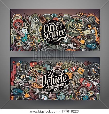 Cartoon cute colorful vector hand drawn doodles Aautomobile corporate identity. 2 horizontal banners design. Templates set