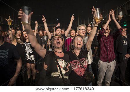 Amsterdam The Netherlands - March 19 2017: Support act with Norwegian hard rock band Audrey Horne Concert of Canadian hard rock heavy metal band Danko Jones at Melkweg