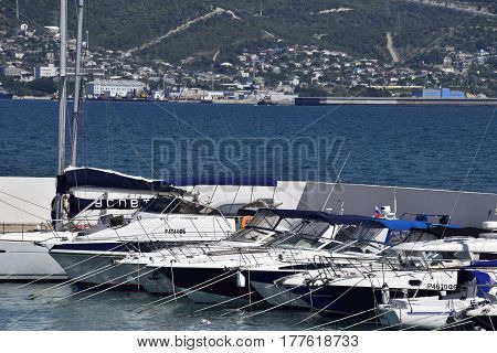Yachts In The Yacht Club. Yachts Sailing Diving Enthusiasts. Port Of Novorossiysk