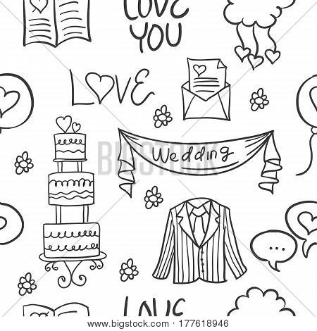 Collection stock of wedding doodles style vector art