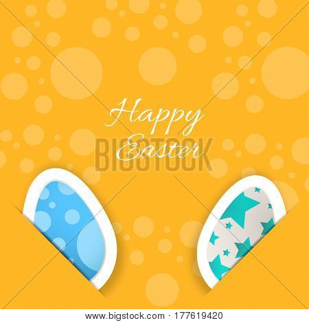 Vector poster of Happy Easter on the yellow background with eggs put in the pockets pattern from circles and text cut from paper.