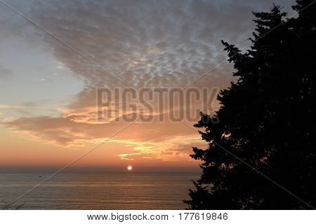 Beautiful sunset over the Black sea. Evening sea